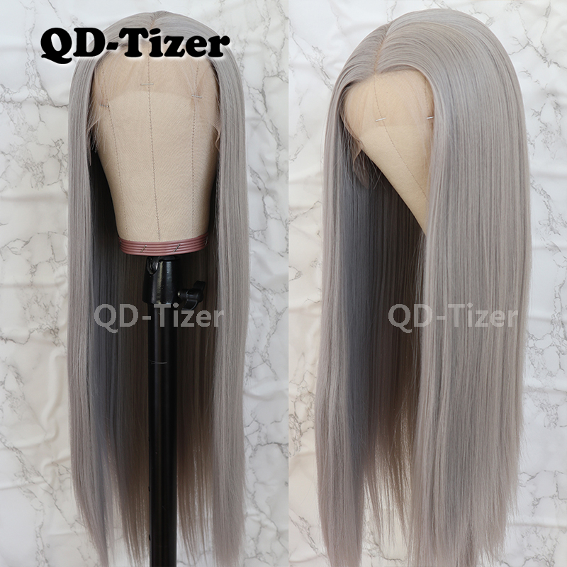 QD-Tizer Silky Straight Hair Lace Front Wig Gray Color Glueless Heat Resistant Synthetic Lace Front Wig For Women