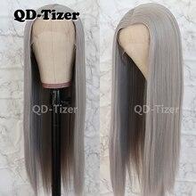 Qd tizer seda cabelo reto peruca dianteira do laço cinza cor glueless resistente ao calor peruca dianteira do laço sintético para mulher