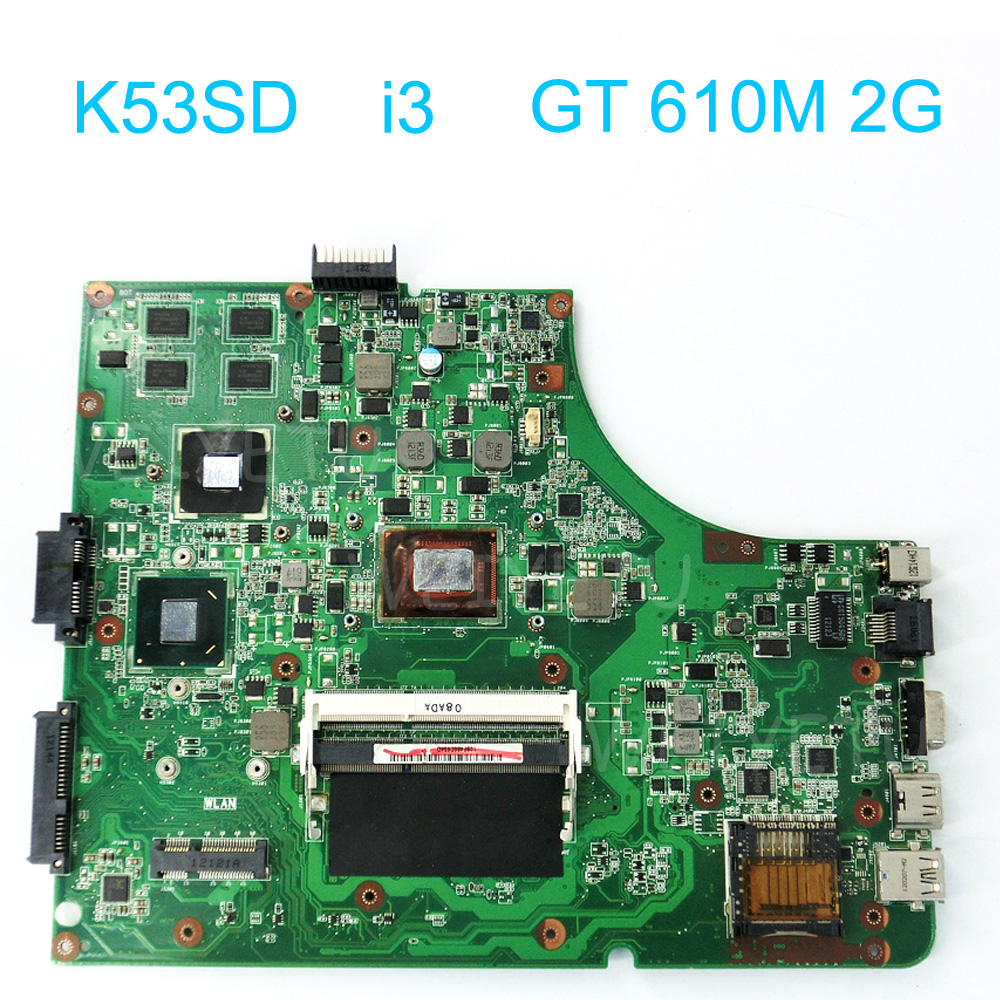 K53SD Motherboard REV:6.0 with i3-2350M CPU USB 3.0 for Asus K53SD Laptop GT610M 2GB DDR3 HM65 Chip non-integrated 100% working цена