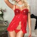 2016 Mulheres Natal Traje Sexy Lace Pijamas Sexy Lingerie Traje Do Carnaval Natal Lingerie Sexy Lingerie Frete Grátis