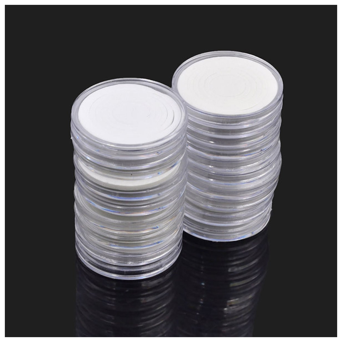 60 Pcs 46mm Coin Cases Capsules Holder Applied Clear Plastic Round Storage Box