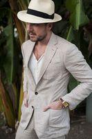 2018 Latest Men Suit Beige Linen Suit Men Jackets Wedding Suit for Men Blazer Sim Fit Tuxedo Casual Street Suits with Pants