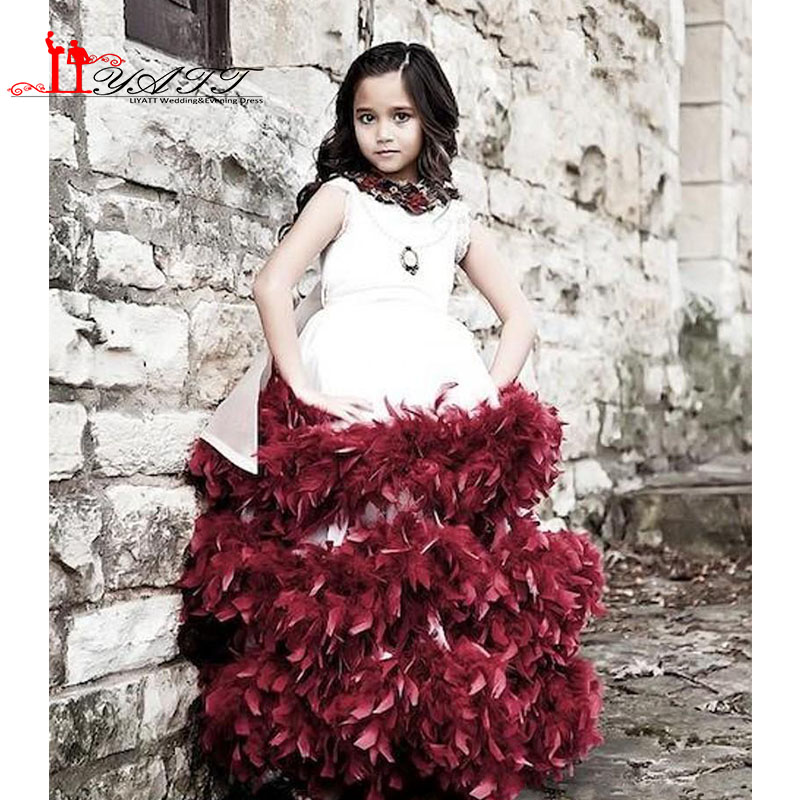 Gorgeous White And Burgundy Ruffles Sleeveless Scoop Lace Ball Gown Applique Flower Girls Dresses 2016 Girls Pageant Dresses