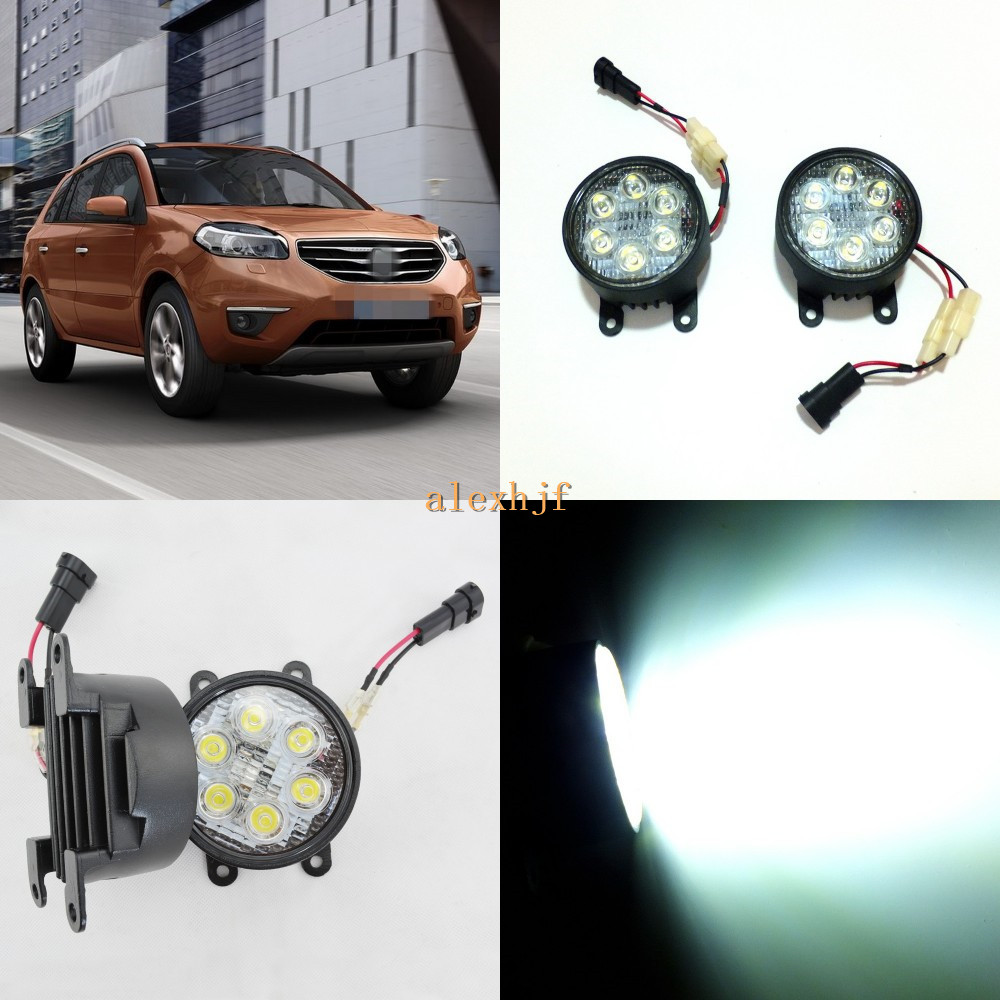 July King 18W 6LEDs H11 LED Fog Lamp Assembly Case for Renault Koleos 2012~ON etc, 6500K 1260LM Daytime Running Lights july king 18w 6leds h11 led fog lamp assembly case for nissan versa 2012 on 6500k 1260lm led daytime running lights