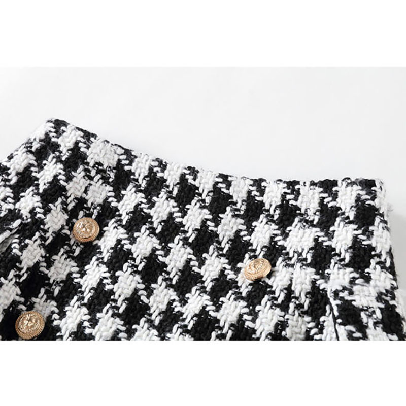 Botones Nuevo Elegante Bodycon Blanco Falda Tweed C067 Otoño Weave Plaid Mujeres Mini Primavera Clásico Faldas 2018 Negro Slim Señoras AIwr6qA4