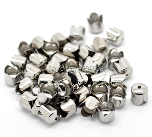 Wholesales 200Pcs Beads Caps Fit Chain Tassel Jewelry Making Silver Tone Findings DIY Component 8mm
