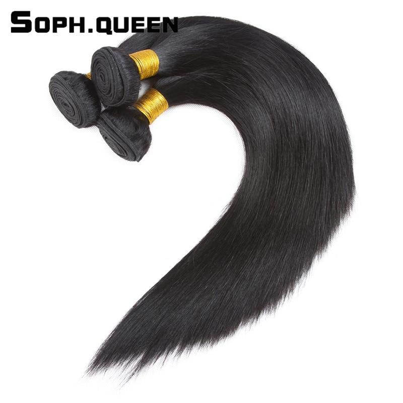 Soph koningin haar rechte golf bundels met sluiting Braziliaanse - Mensenhaar (voor zwart) - Foto 2