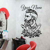 Custom Barber Shop Tattoo Hipster Decal Personalized BarberShop Hair Salon Flower Window Wall Sticker Decal Vinyl Decor N205
