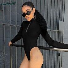 SUCHCUTE Overalls Body For Women With Zipper Turtleneck Black Bodysuit Bodycon F