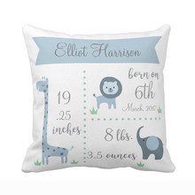 Custom Baby Kids Pillow Case Cute Blue Jungle Animals Elephant Lion Throw Pillow Cover Boy Girl Birth Polyester Cushion Cover(China)
