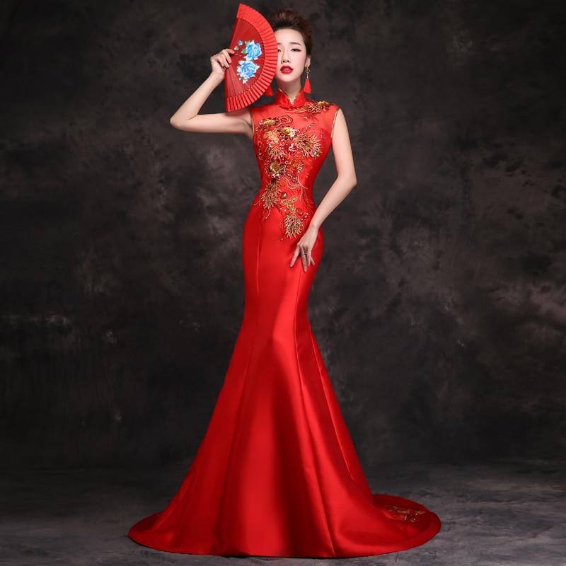 Traditional Trailing Women Qipao Mandarin Collar Sleeveless Cheongsam Mermaid Slim Vestidos Bride Wedding Party Dress Size S-XXL