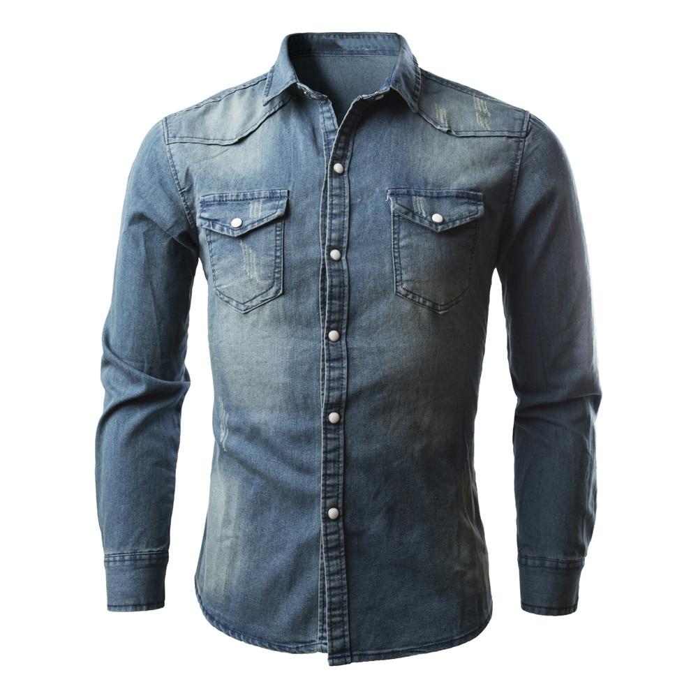 2017 Herbst Männer Shirts Retro Jeanshemd Jeans Cowboy Bluse Männlich Jahrgang Baumwolle Mischung Zwei Taschen Dünne Dünne Tops Plus Größe