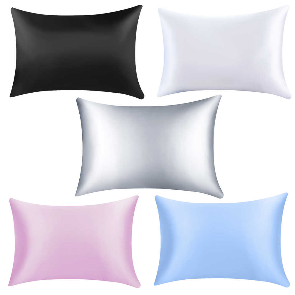 Solid color Square Pillow Single Cover Chair Seat Soft Mulberry Plain Pillow Case Pure Emulation Satin Silk Pillowcase Cover