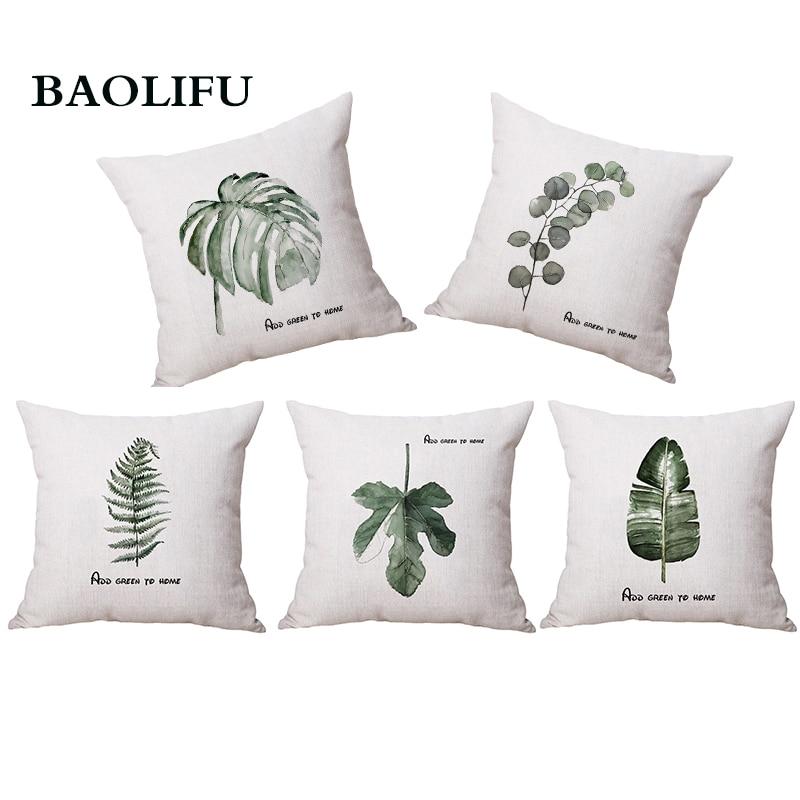 BAOLIFU Fashion Linen Tropical Plants Palm Leaves Cactus Cushion Pillow Case Painting Green Plants Sofa Throw Cushion Cover D021