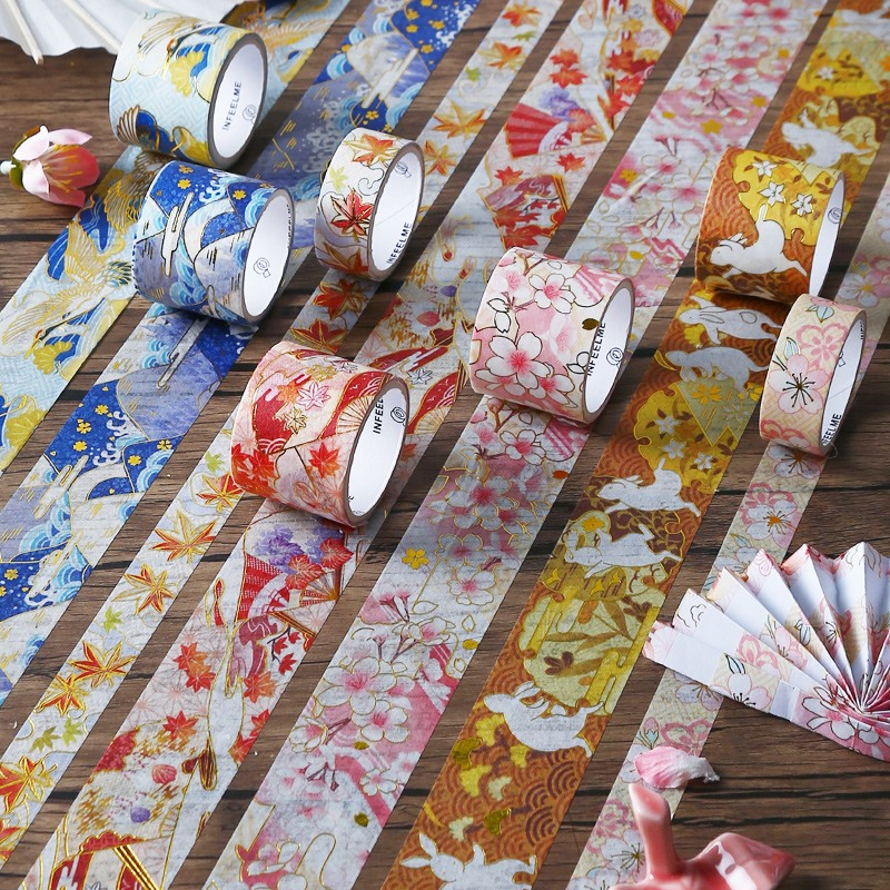 3 Pcs/lot Retro Sakura Gilding Decorative Washi Tape Set Japanese Paper Stickers Scrapbooking Adhesive Washitape Stationary
