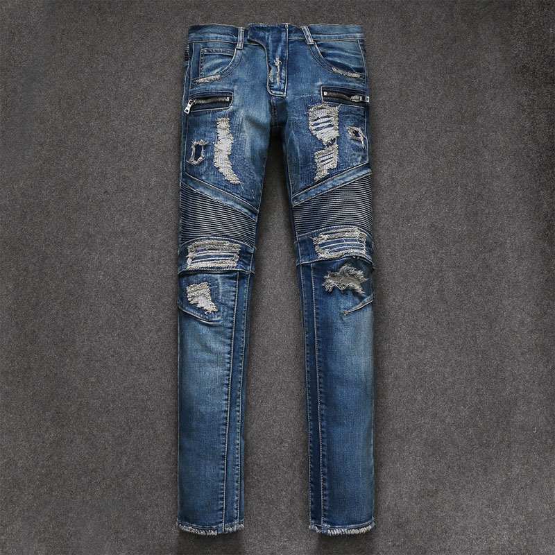 2018 New Men Jeans Runway Slim Racer Biker Jeans Fashion Hiphop Skinny Jeans For Men Den ...