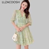 019 Runway Summer Ball Gown Dress Women Green Floral Print Chiffon Half Sleeve Dress Sexy Deep V Neck Holiday Dress