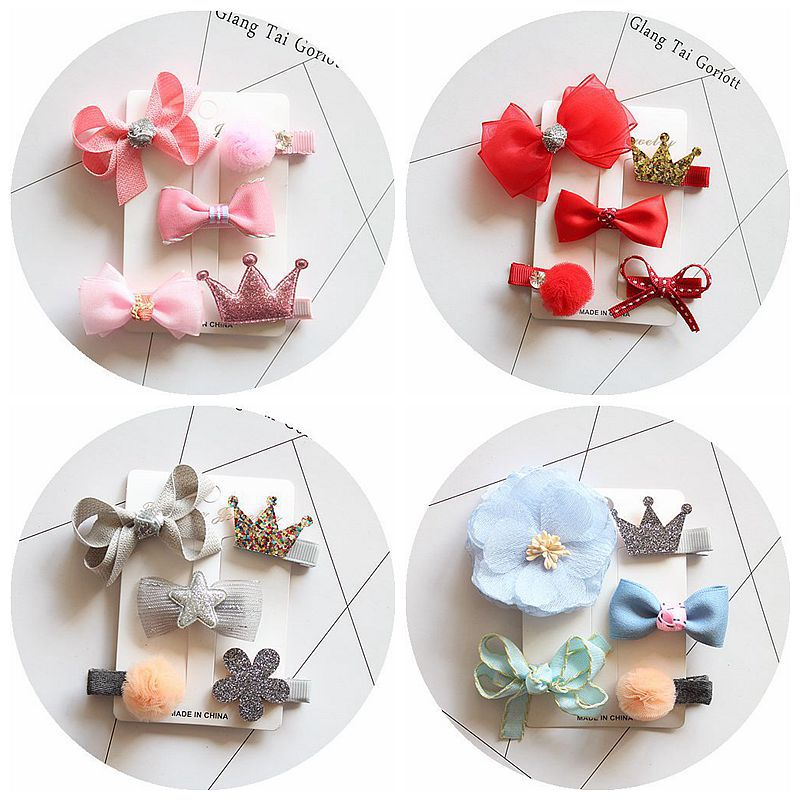 5Pcs/Set girls flowers Bow hair clips cartoon hairpins toddlers kids Animal Bow SAFE Barrettes Hair Accessories Flower gift set