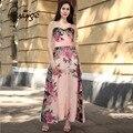 2017 verão rosa mulheres long floral impressão chiffon dress sexy mangas strapless wedding party túnica vestido 3 estilos