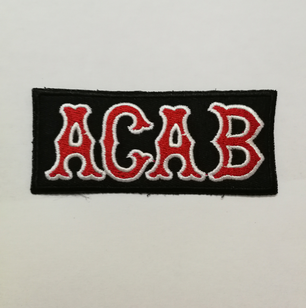 Red /& White A.C.A.B Patch 1/%er Patch Biker