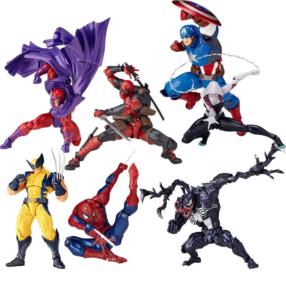 Revoltech Amazing Red Venom Carnage Amazing Captain America Spiderman Magneto Wolverine X-men Action Figures Toy Doll (51)