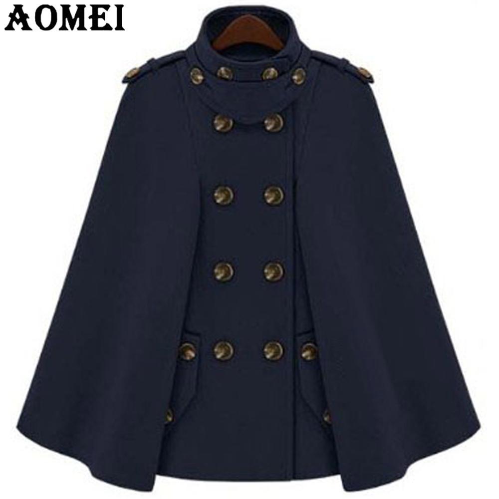Модное шерстяное пальто верблюжьего цвета, плащ для женщин, зимняя рабочая одежда для офиса, женская верхняя одежда с двумя пуговицами, новинка, весеннее пальто, накидка - Цвет: Navy Blue