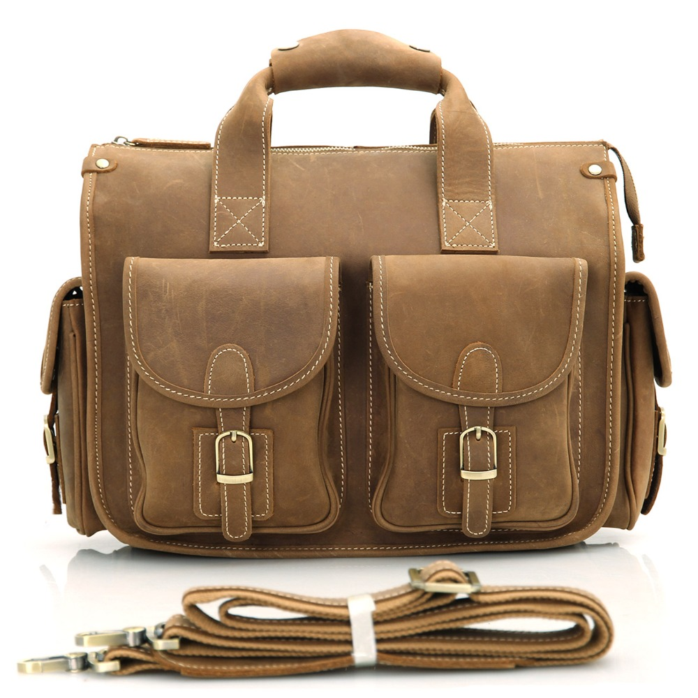 Crazy Horse Leather Men's Dark Brown Briefcases Laptop Hand Bag Messenger Totes 7106B