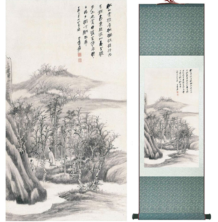 Zhangdaqian Mountain and River painting Chinese scroll painting landscape art painting home decoration painting 0402019