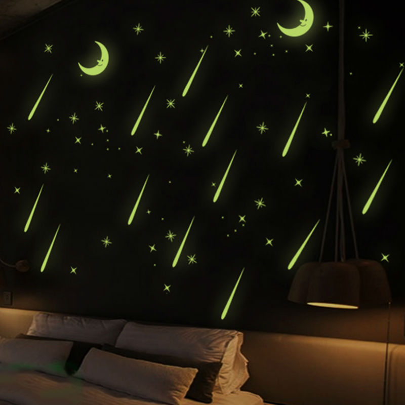 Baby Kids Bedroom Creative DIY 3D Moon Meteor Noctilucent Wall STikcer Glow In the Dark Bedroom Decoration stickers Home Decor