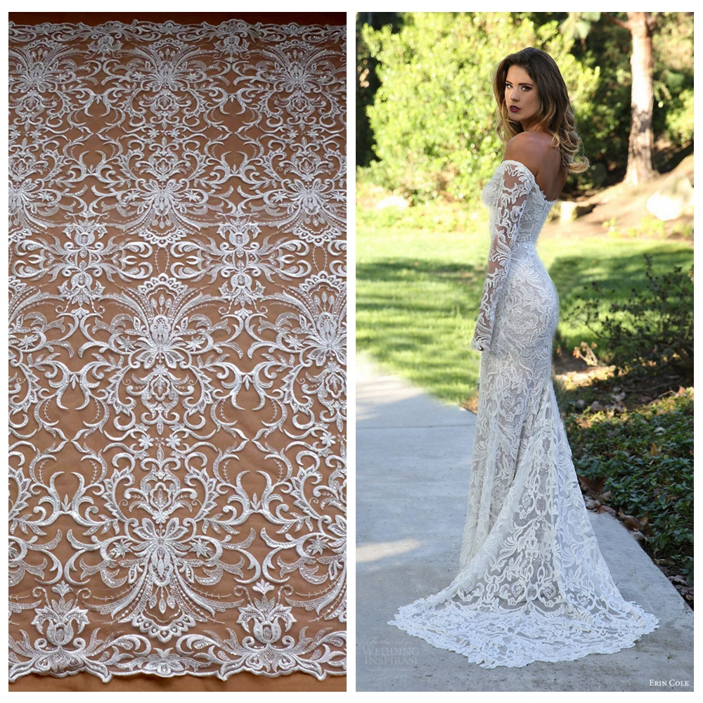 La Belleza New fashion Off white rayon with clear shining sequins on netting wedding brides evening