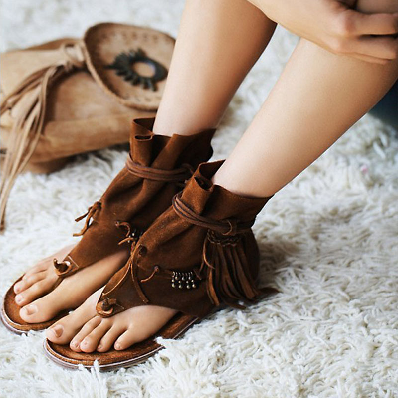 2017 New Fashion Women Gladiator Sandals Boots Rope Suede Fringe Sandals Lace Up Flat Shoes Woman Casual Beach Flats  new pompom wild thing fringe suede sandals women summer wlegance