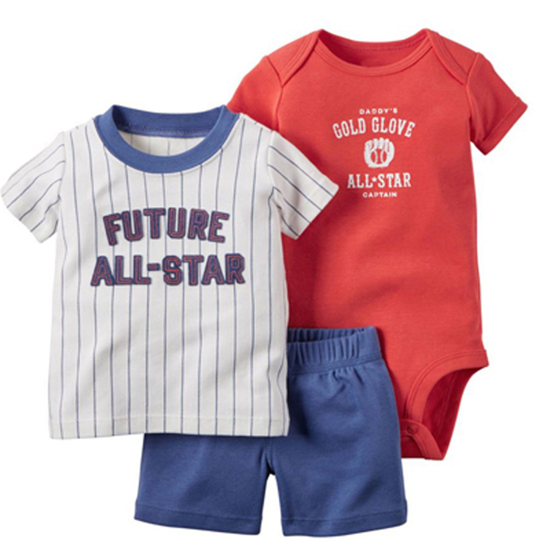 Bebê recém-nascido menino conjunto de manga curta carta camiseta topos + bodysuit shorts para 2019 roupas verão algodão recém nascido terno 3pcs outfit