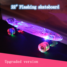 New 22″ transparent banana skate board with LED light single rocker longboard the deck and wheels all flashing ABEC-9 skateboard