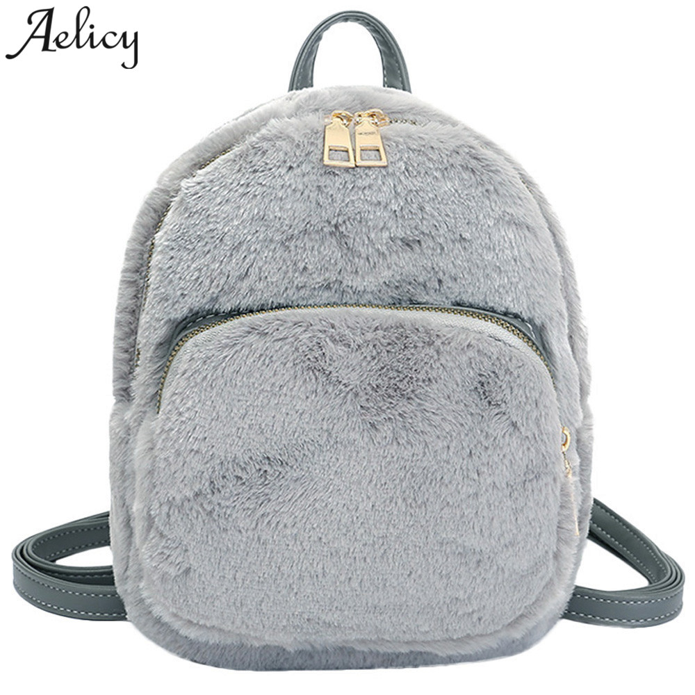 Aelicy Fashion New Plush Backpack 2018 Fashion Cute Small Backpack Ladies  Shoulder Bags for Women Winter ed3e9173eb4ae