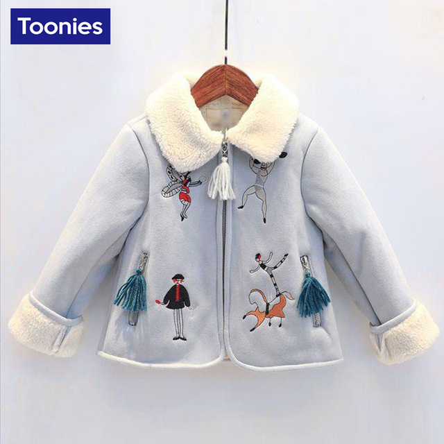 2017 New Arrival Winter Autumn Girls Coat Children's Clothing Warm High Quality Kids Cartoon Cotton Coat 2 Color