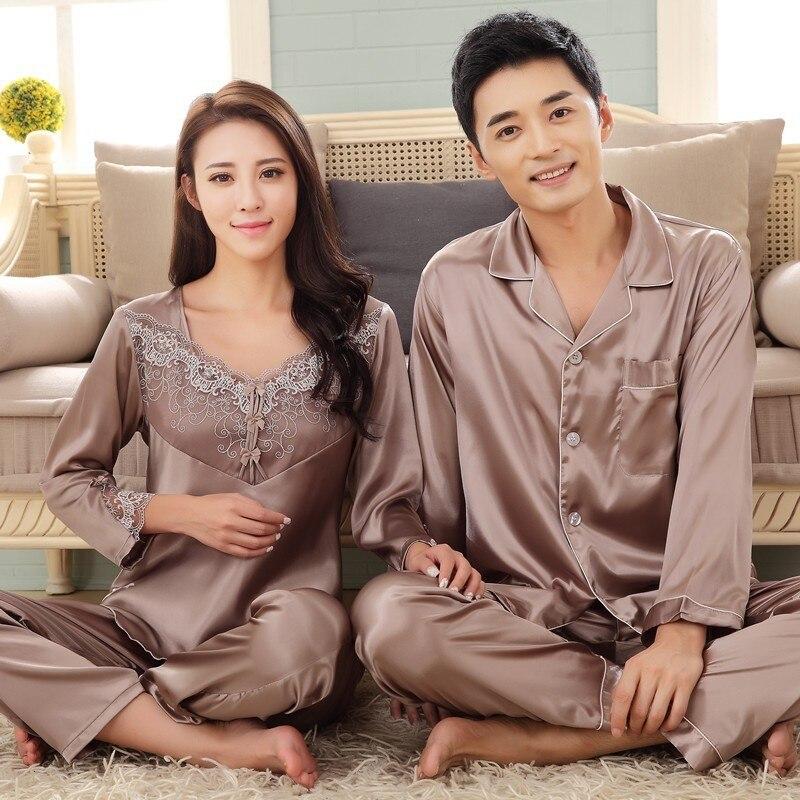 Women's Pajamas Sleep Lovers Ladies Silk Pyjamas Men Satin Pajamas Women Lounge Couple Pajama Sets Plus Size 3XL
