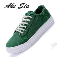 Ake Sia Summer Men Canvas Shoes Fashion Retro Artistic Youth Classic White Shoes Lace Up Casual
