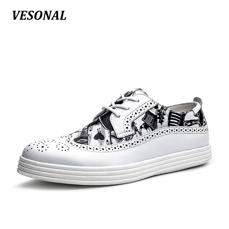 VESONAL High Quality 100% Genuine Leather Patchwork Men Shoes Brogue Classic Fashion Print Mens Shoes Casual Designer SD7032 vesonal summer 100