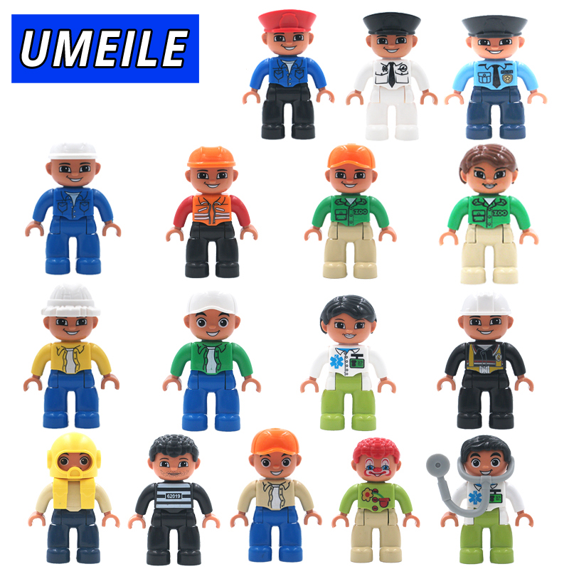 UMEILE Original City Series Policeman/Thief/Doctor/Nurse Figure Large Particle Building Blocks Baby Toy Compatible with Duplo role family worker figure character large particle building blocks original accessory toys compatible with duplo diy kids gift