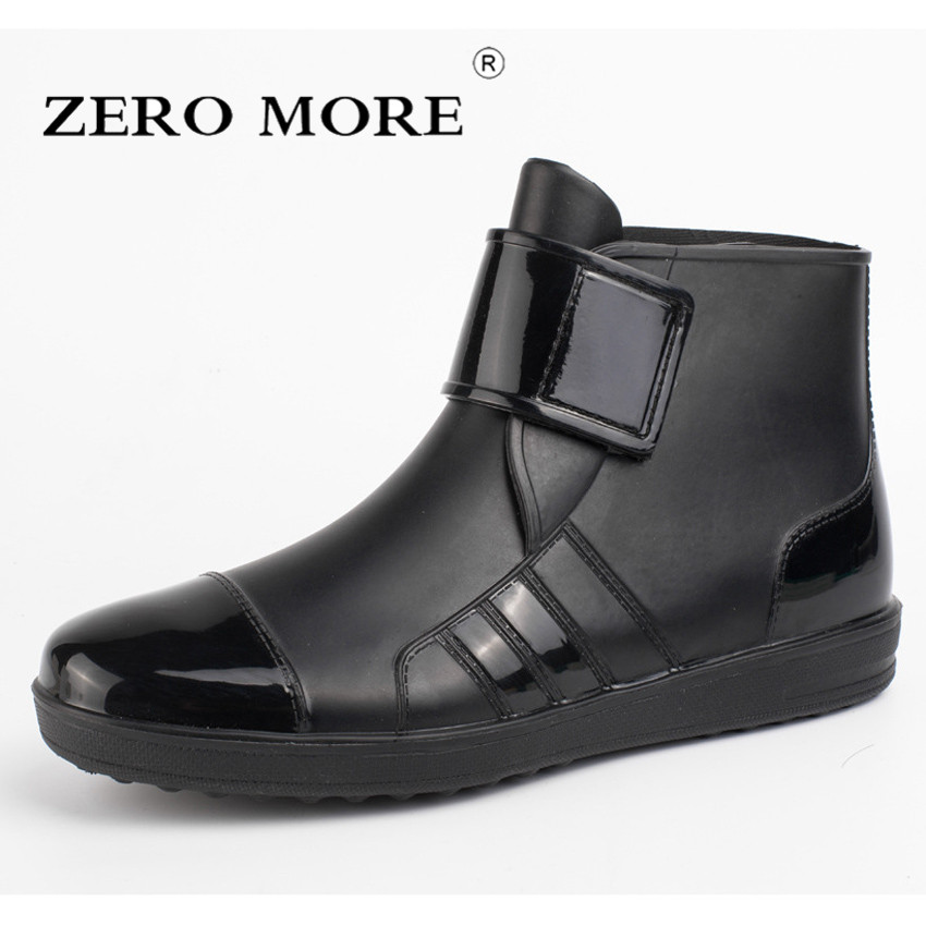 ZERO MORE Mens Rubber Rain Boots Fashion Chef Boots Men Casual Slip On Waterproof Ankle Boots PVC Shoes Round Toe Rainboots