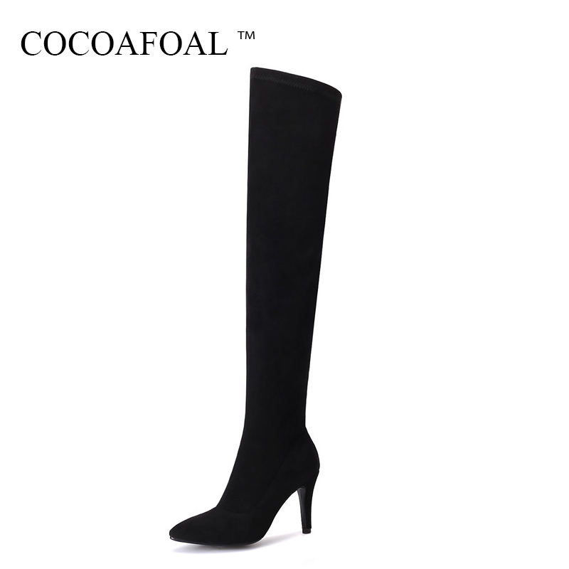 COCOAFOAL Women Sexy Black High Heeled Shoes Plus Size 33 43 Genuine Leather Thigh High Boots Winter Chelsea Over The Knee Boots cocoafoal women sexy black high heeled shoes genuine leather thigh high boots plus size 33 41 winter chelsea over the knee boots