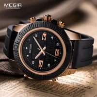 Megir Fashion Gold Men Sport Watches Mens LED Analog Digital Watch Army Military Leather Quartz Watch M9344 Relogio Masculino