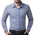 Мужчины 2017 С Длинным Рукавом Хлопок Повседневная Мужская Рубашка Стильный Тонкий Fit Небольшой Сетки Клетчатую Рубашку Топы Camisa Masculina Плюс Размер 6299