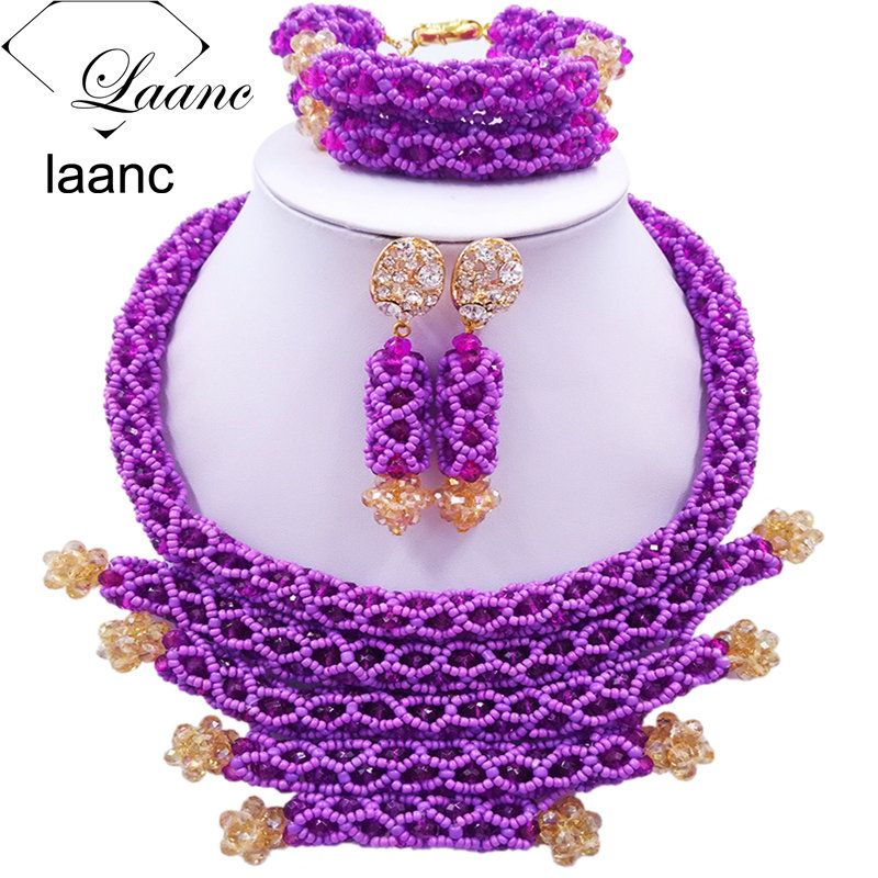 Fashion Women Costume Crystal Beaded Necklace Purple African Beads Jewelry Set for Nigerian Wedding BZDJ003 цены онлайн