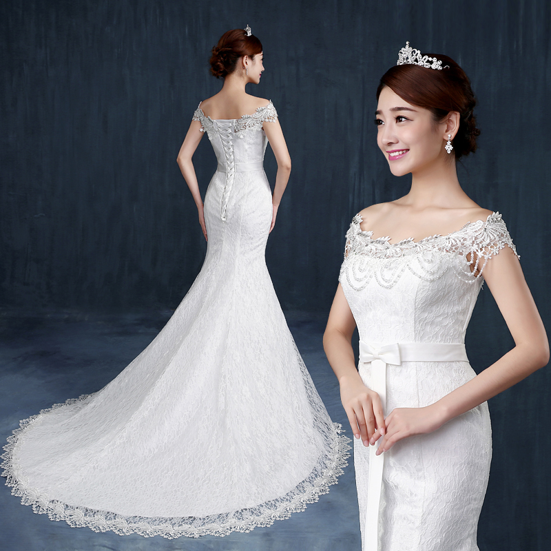 Mermaid wedding dress 2017 new arrival embroidery peals for Princess mermaid wedding dresses