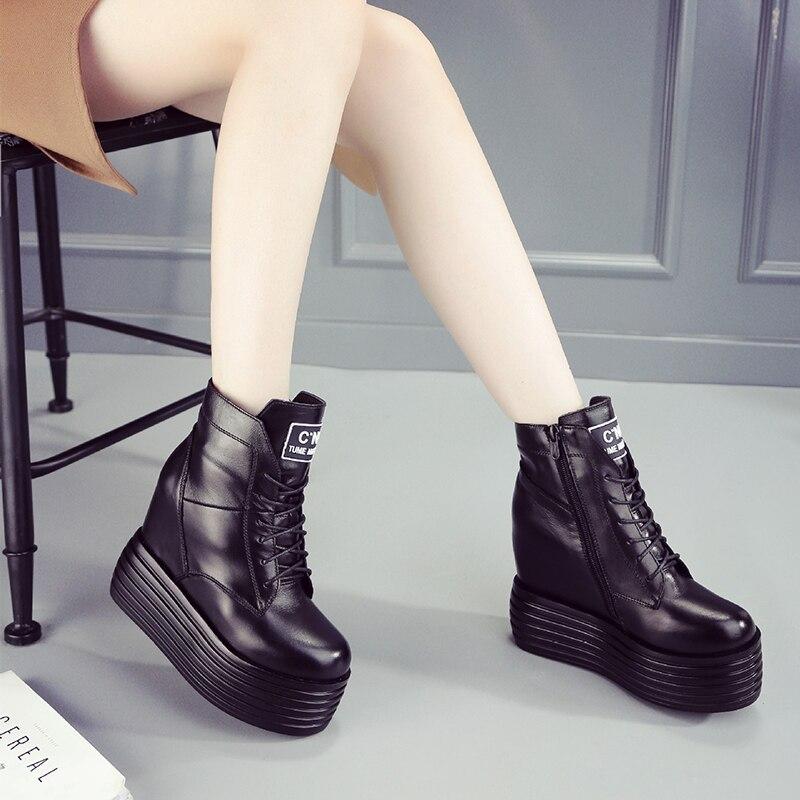 цена на Women Ankle Boots Platform 6cm High Heels Flat Black Punk Martin Boots Genuine Leather Fashion Shoes Winter Boots Ladies Shoes
