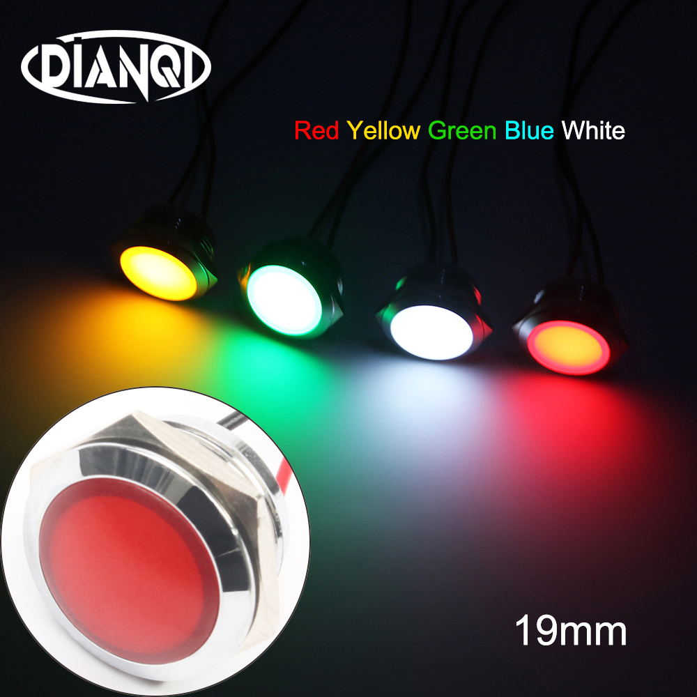 LED Metal Indicator Light 19mm Waterproof Signal Lamp LIGHT 3V 6V 12V 24V 220v Screw Connect Red Yellow Blue White 19ZSD.QX.X