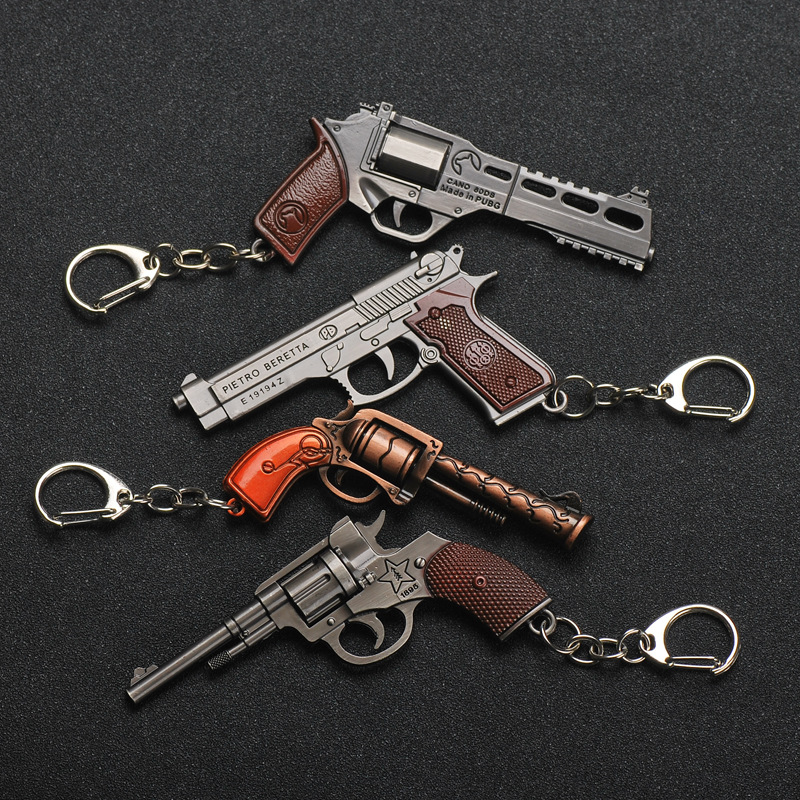 02 New PUBG Cosplay Costume Keychain Movable Helmet Backpack Pan Alloy Model Key Chain Plane Car Bullet Explosive Mini Pendant in Key Rings from Automobiles Motorcycles