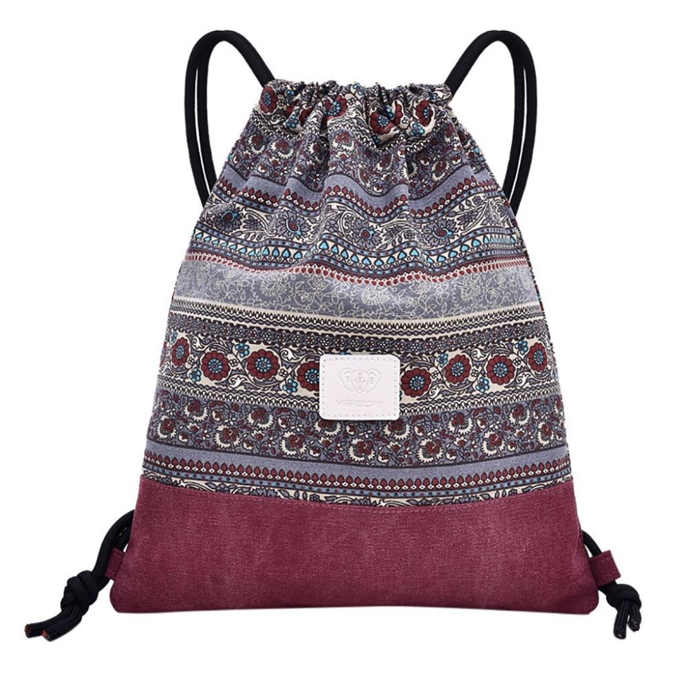 2019 New Drawstring Fitness Bag Women Sports Bag Folk Custom Bouquet Pocket Beach Bags f10