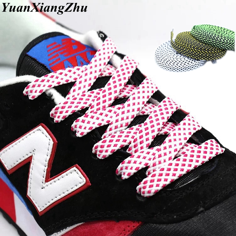 1Pair Two-color Flat Shoelaces Polyester Sneaker Shoe Lace Colors Checkered Double Layer Hollow Flat Shoelaces 100/120/140CM